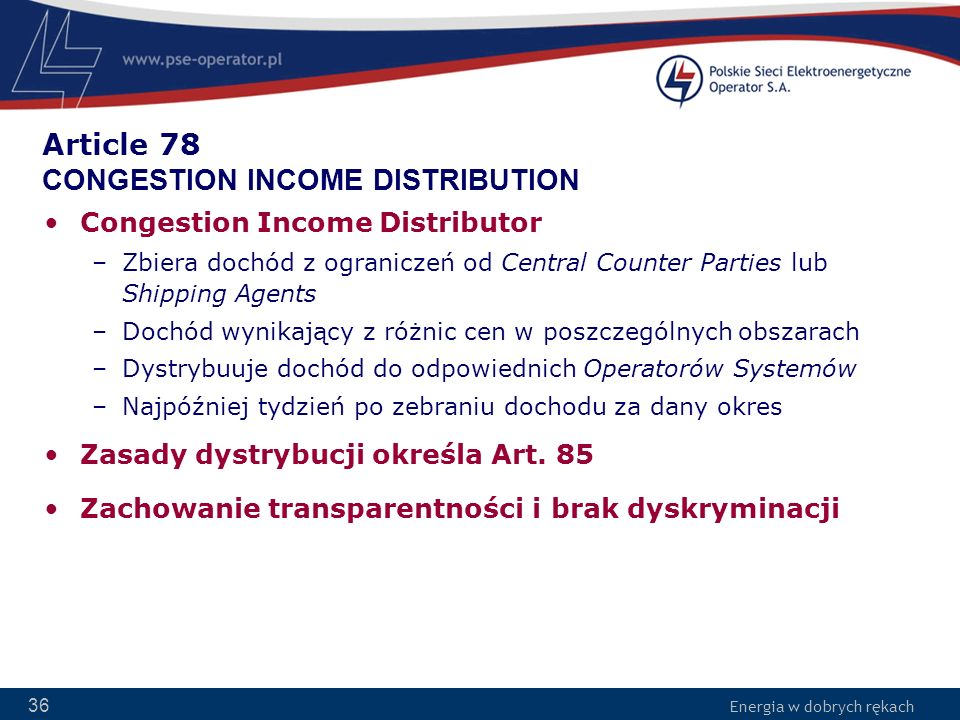 Article 78 CONGESTION INCOME DISTRIBUTION