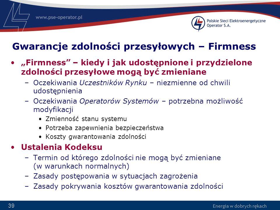 Gwarancje zdolności przesyłowych – Firmness