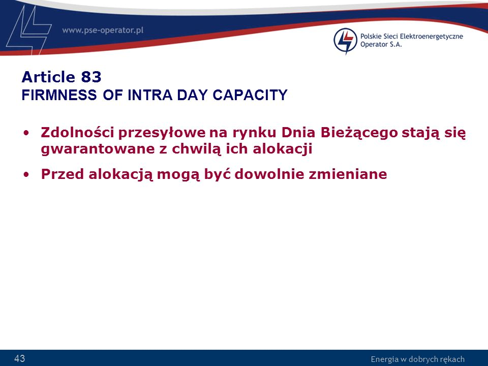 Article 83 FIRMNESS OF INTRA DAY CAPACITY