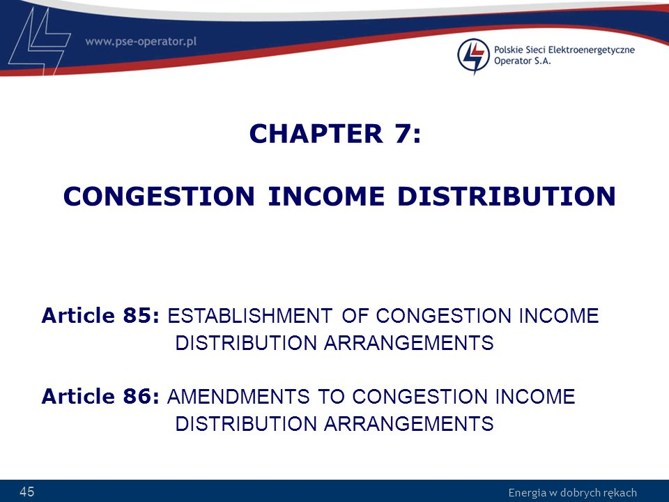 CHAPTER 7: CONGESTION INCOME DISTRIBUTION