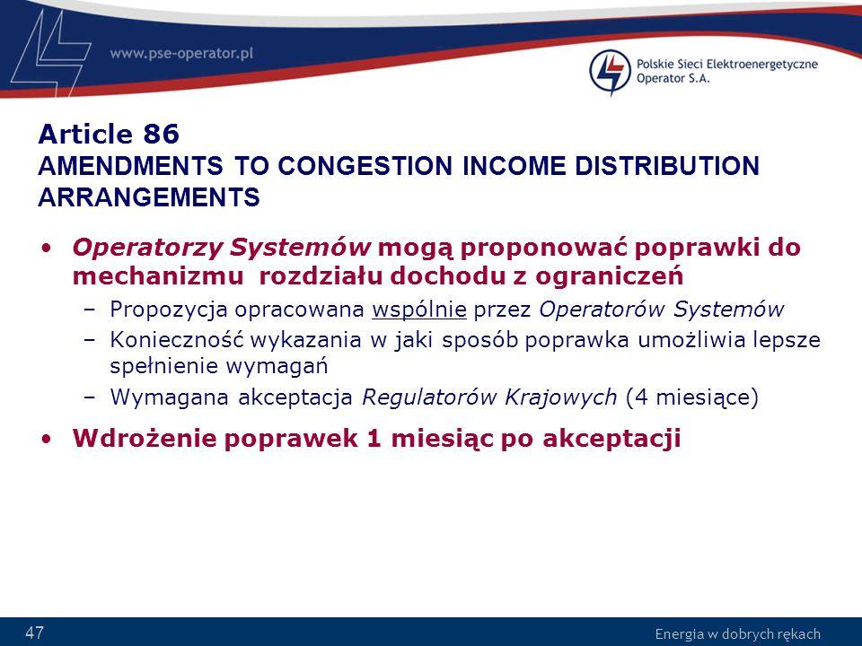 Article 86 AMENDMENTS TO CONGESTION INCOME DISTRIBUTION ARRANGEMENTS