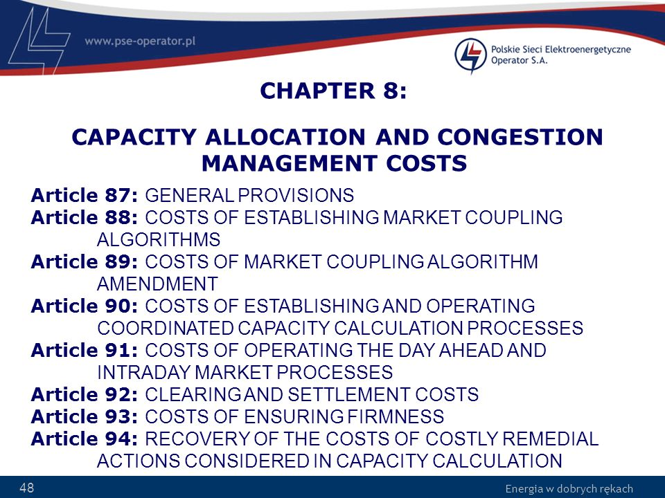 CHAPTER 8: CAPACITY ALLOCATION AND CONGESTION MANAGEMENT COSTS