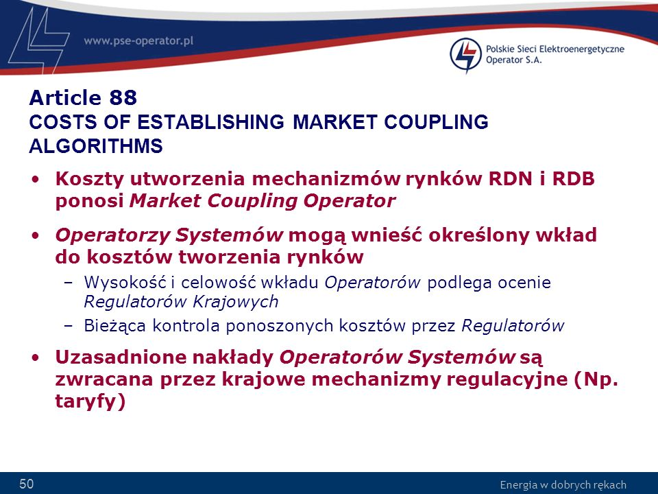 Article 88 COSTS OF ESTABLISHING MARKET COUPLING ALGORITHMS