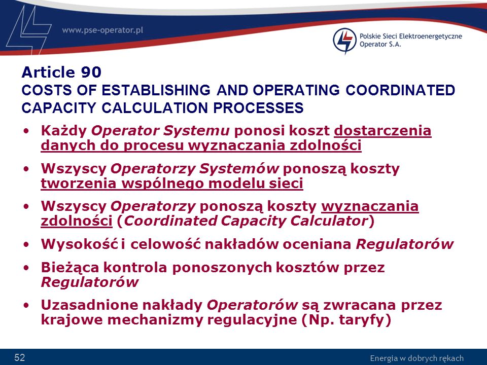 Article 90 COSTS OF ESTABLISHING AND OPERATING COORDINATED CAPACITY CALCULATION PROCESSES