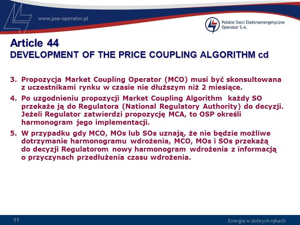 Article 44 DEVELOPMENT OF THE PRICE COUPLING ALGORITHM cd