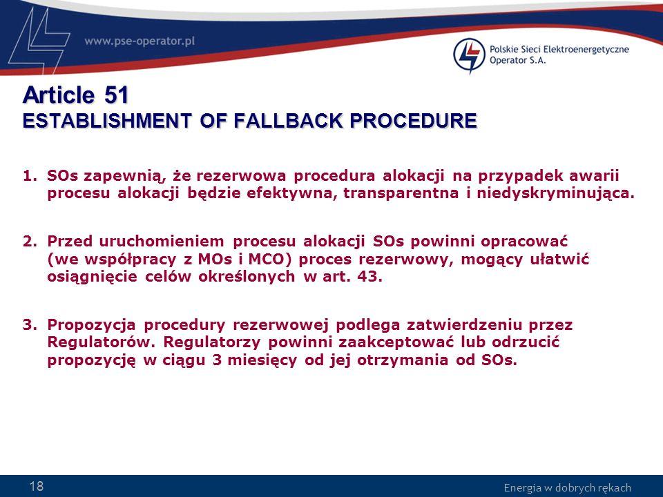 Article 51 ESTABLISHMENT OF FALLBACK PROCEDURE