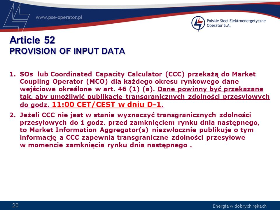 Article 52 PROVISION OF INPUT DATA