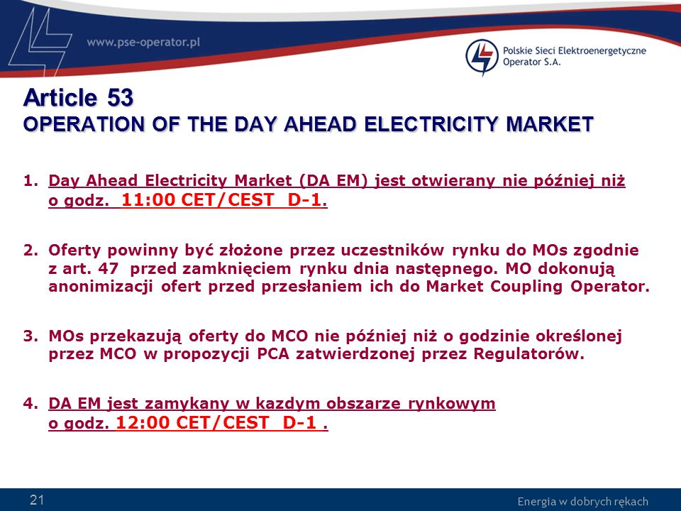 Article 53 OPERATION OF THE DAY AHEAD ELECTRICITY MARKET
