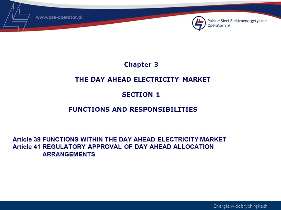 Chapter 3 THE DAY AHEAD ELECTRICITY MARKET SECTION 1 FUNCTIONS AND RESPONSIBILITIES Article 39 FUNCTIONS WITHIN THE DAY AHEAD ELECTRICITY MARKET Article 41 REGULATORY APPROVAL OF DAY AHEAD ALLOCATION ARRANGEMENTS