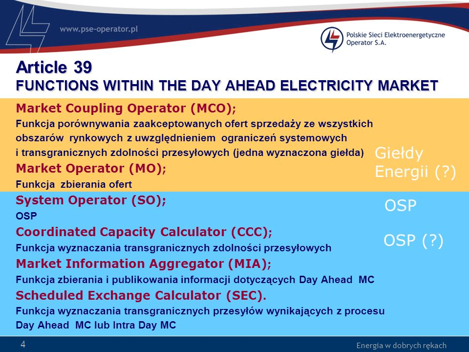 Article 39 FUNCTIONS WITHIN THE DAY AHEAD ELECTRICITY MARKET