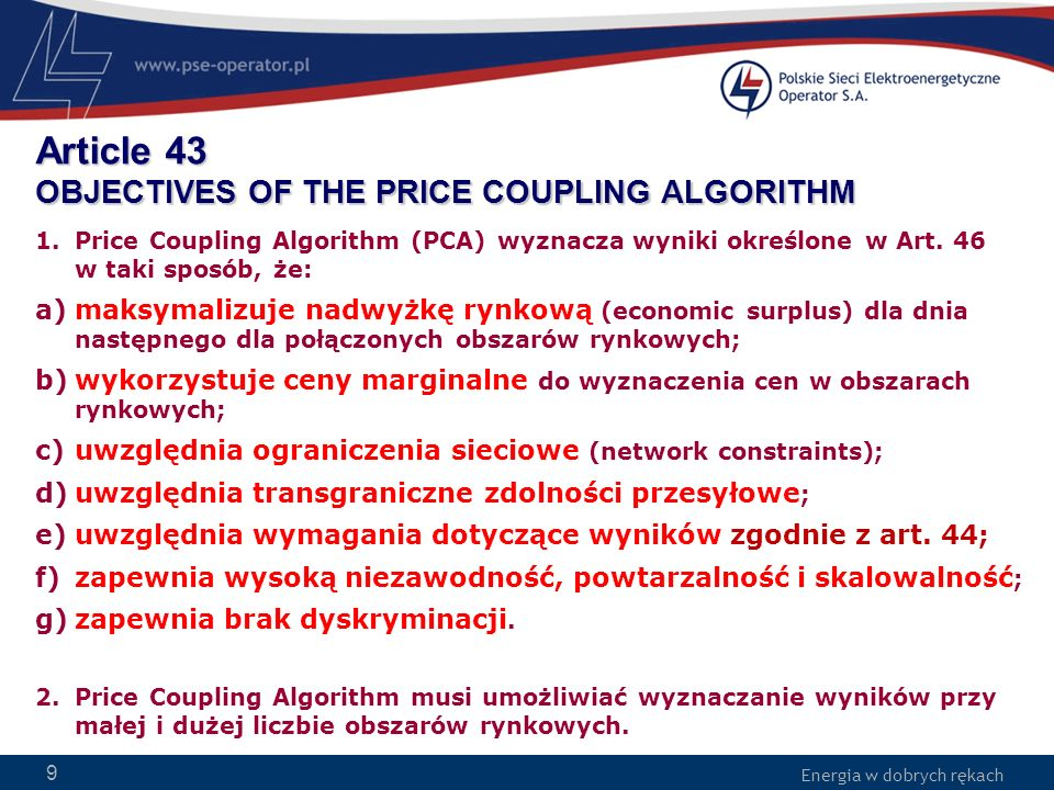 Article 43 OBJECTIVES OF THE PRICE COUPLING ALGORITHM