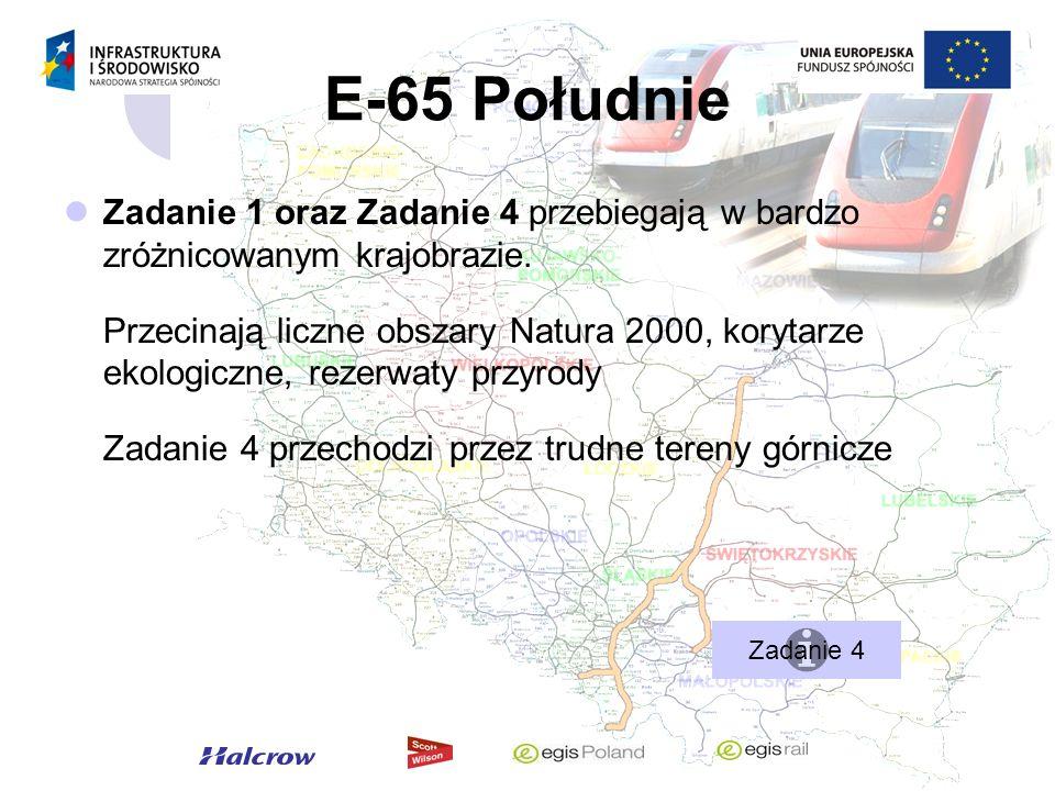 E-65 Południe Zadanie 1 oraz Zadanie 4 przebiegają w bardzo zróżnicowanym krajobrazie.
