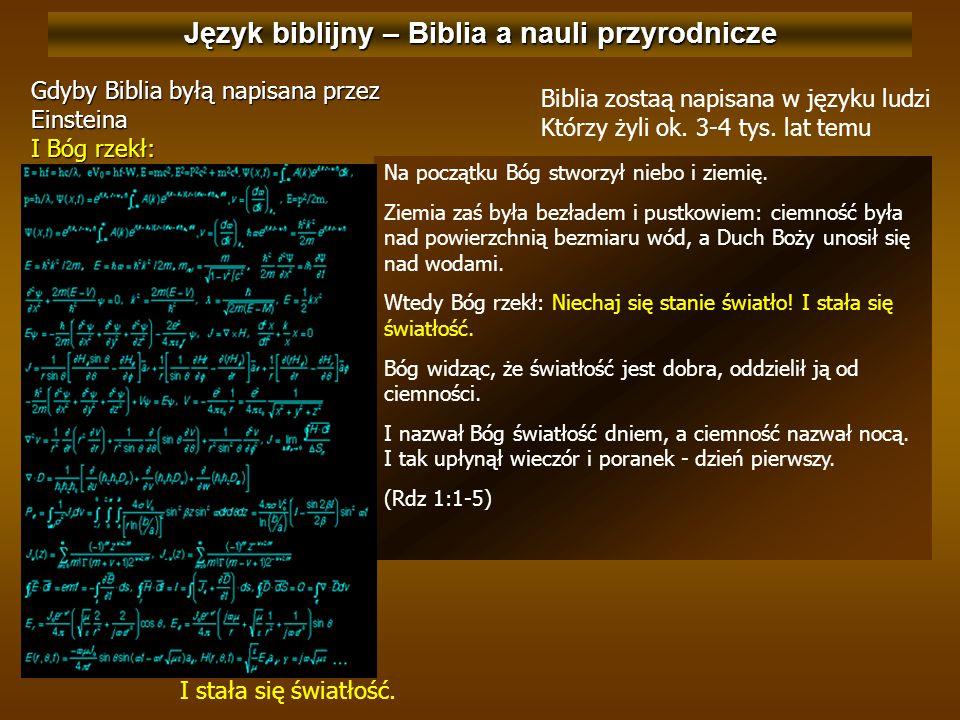 Język biblijny – Biblia a nauli przyrodnicze