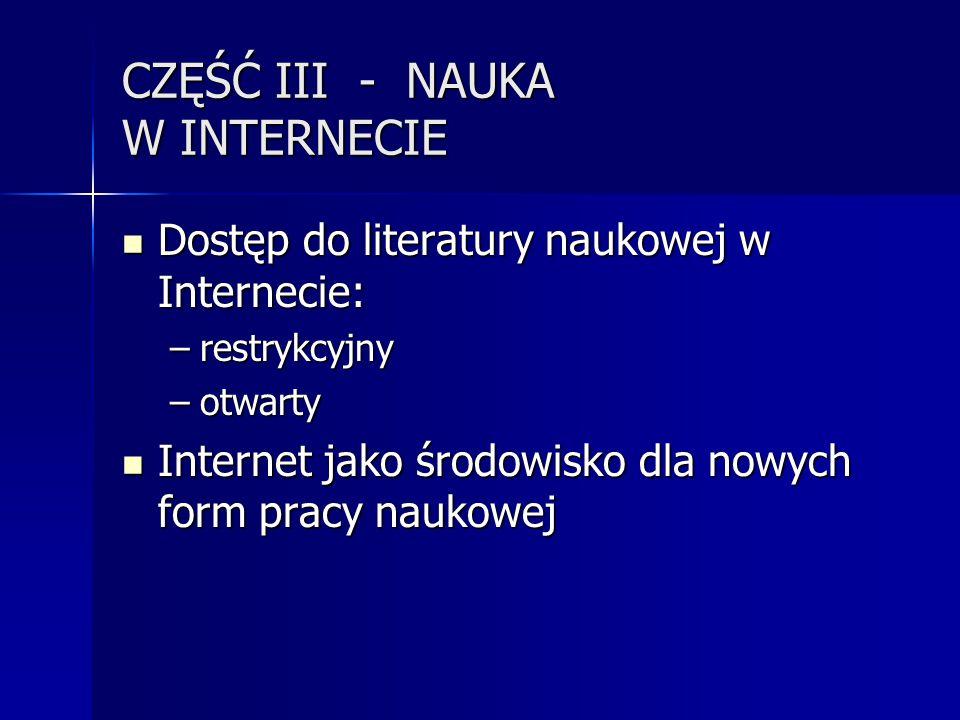 CZĘŚĆ III - NAUKA W INTERNECIE