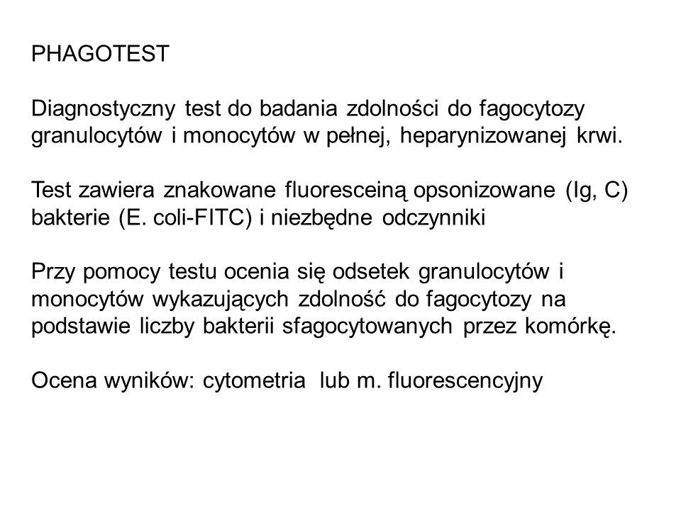 PHAGOTESTDiagnostyczny test do badania zdolności do fagocytozy granulocytów i monocytów w pełnej, heparynizowanej krwi.