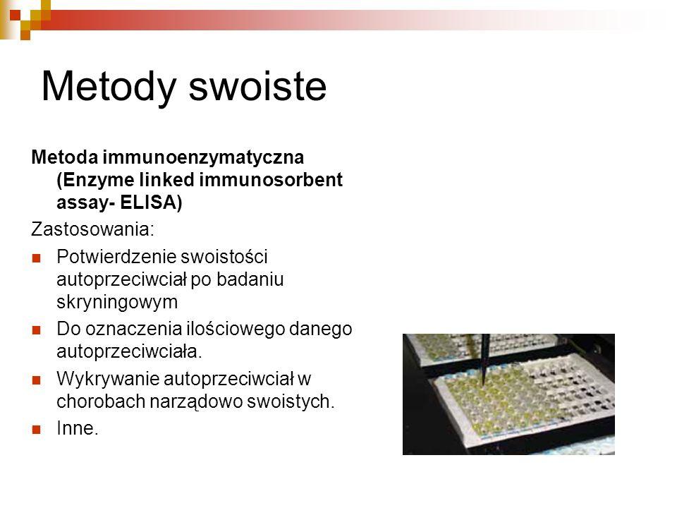 Metody swoiste Metoda immunoenzymatyczna (Enzyme linked immunosorbent assay- ELISA) Zastosowania: