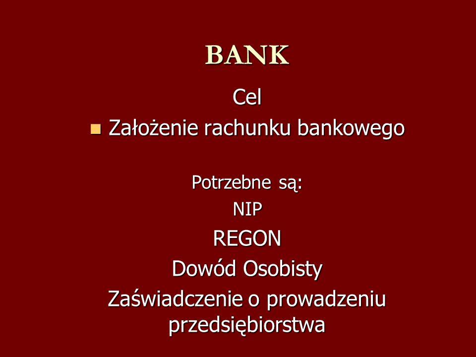 BANK Cel Założenie rachunku bankowego REGON Dowód Osobisty