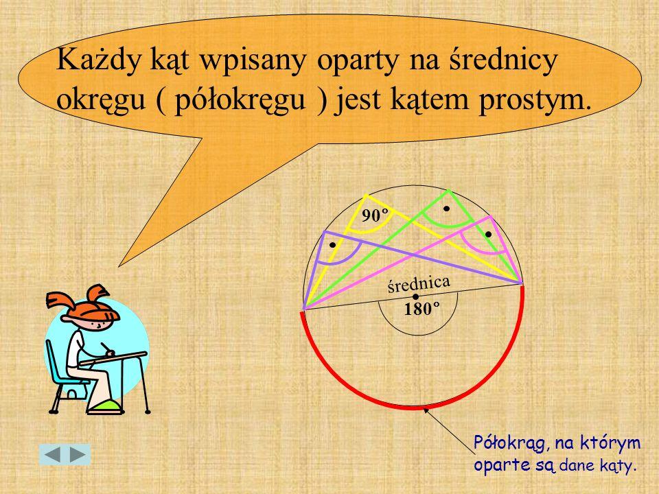 Każdy kąt wpisany oparty na średnicy okręgu ( półokręgu ) jest kątem prostym.