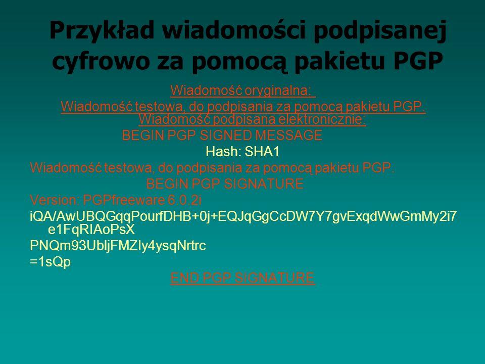 Przykład wiadomości podpisanej cyfrowo za pomocą pakietu PGP