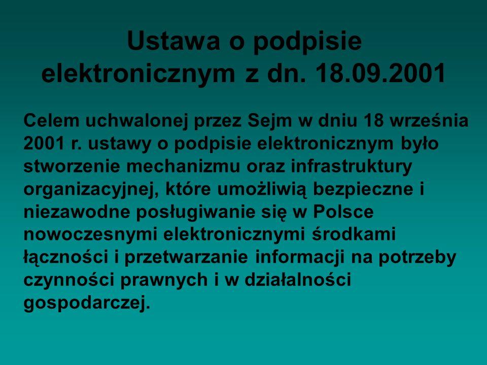 Ustawa o podpisie elektronicznym z dn. 18.09.2001