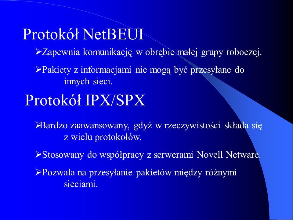 Protokół NetBEUI Protokół IPX/SPX