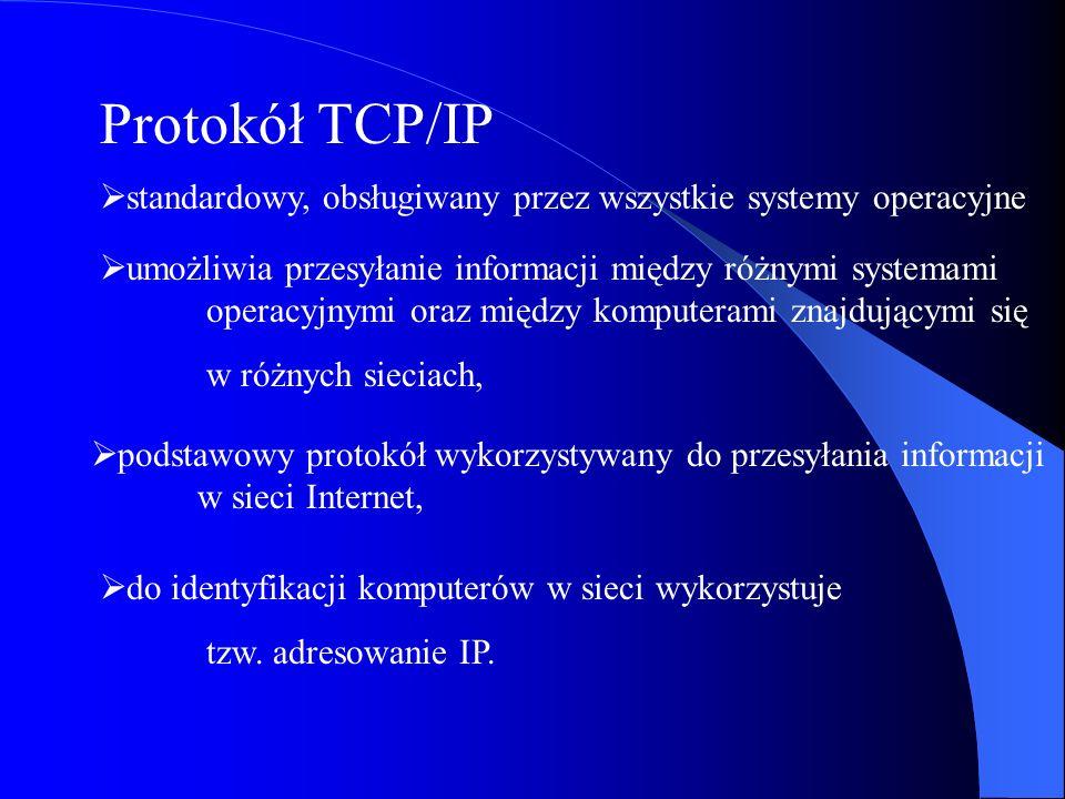Protokół TCP/IP standardowy, obsługiwany przez wszystkie systemy operacyjne.
