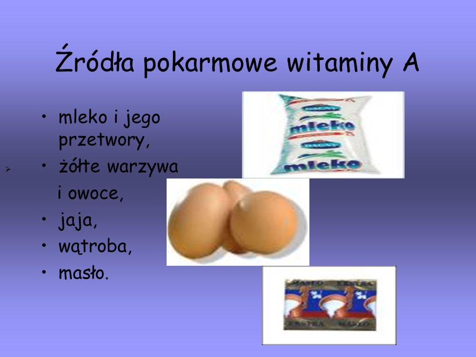 Źródła pokarmowe witaminy A