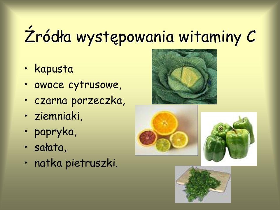 Źródła występowania witaminy C