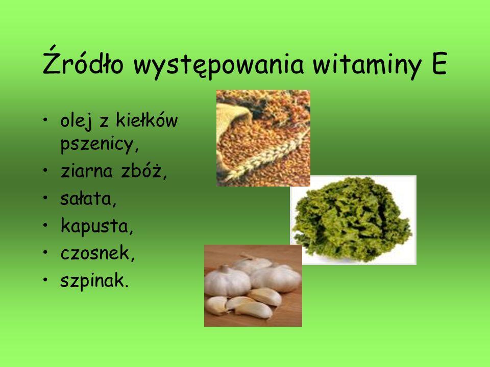 Źródło występowania witaminy E