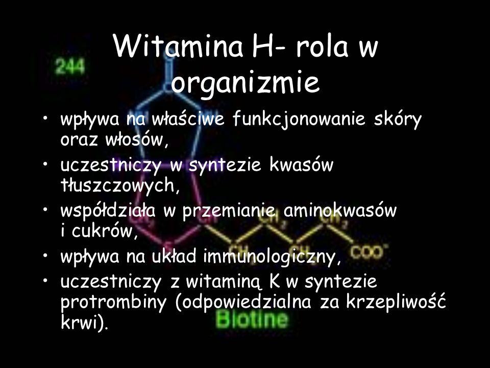 Witamina H- rola w organizmie