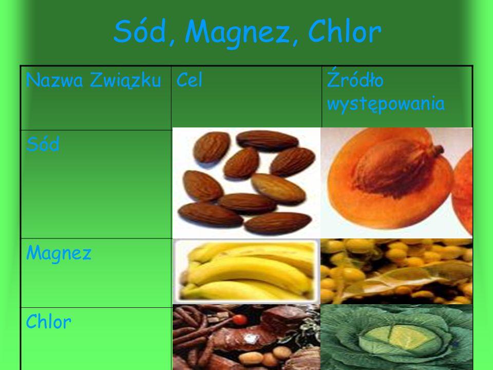 Sód, Magnez, Chlor Nazwa Związku Cel Źródło występowania Sód Magnez
