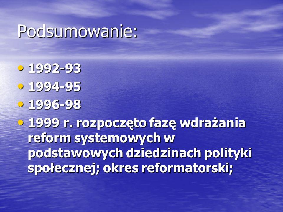 Podsumowanie: 1992-93. 1994-95. 1996-98.