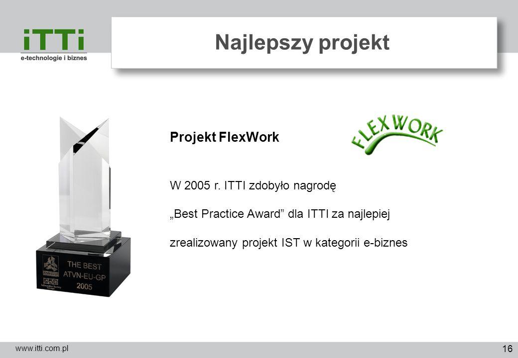 Najlepszy projekt Projekt FlexWork W 2005 r. ITTI zdobyło nagrodę