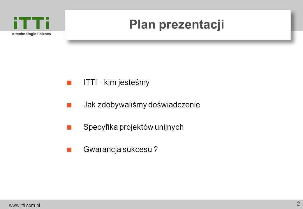Plan prezentacji ITTI - kim jesteśmy Jak zdobywaliśmy doświadczenie