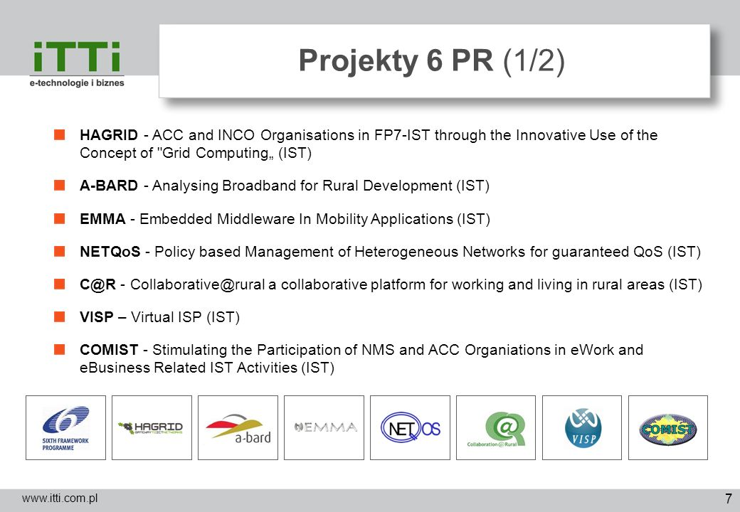 "Projekty 6 PR (1/2)HAGRID - ACC and INCO Organisations in FP7-IST through the Innovative Use of the Concept of Grid Computing"" (IST)"