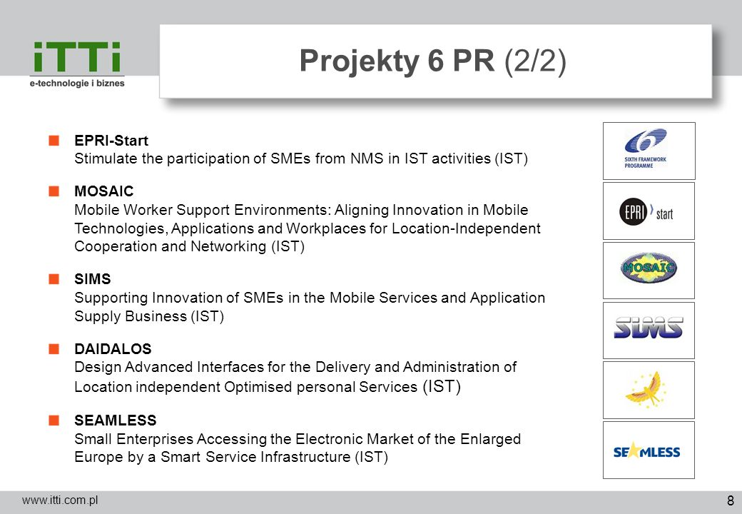 Projekty 6 PR (2/2) EPRI-Start Stimulate the participation of SMEs from NMS in IST activities (IST)