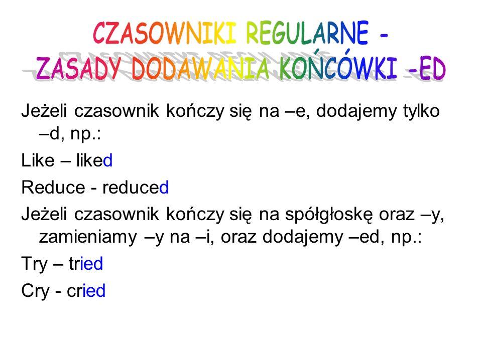 CZASOWNIKI REGULARNE - ZASADY DODAWANIA KOŃCÓWKI -ED