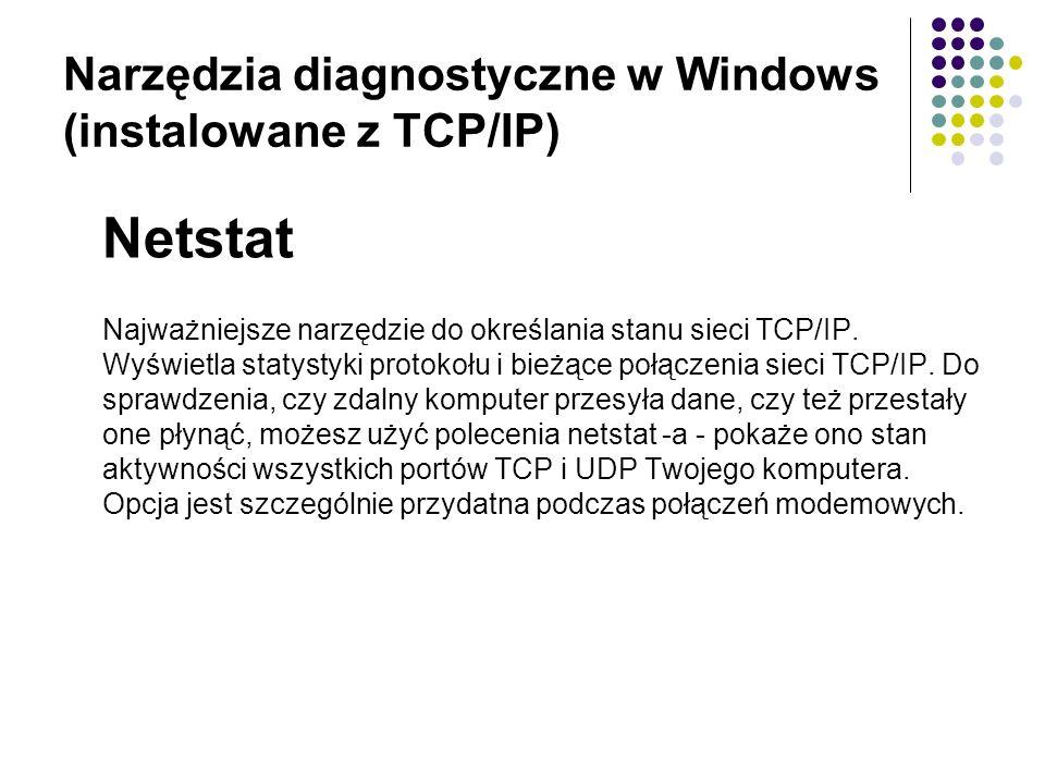 Narzędzia diagnostyczne w Windows (instalowane z TCP/IP)