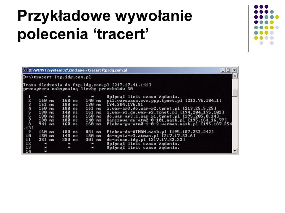Przykładowe wywołanie polecenia 'tracert'