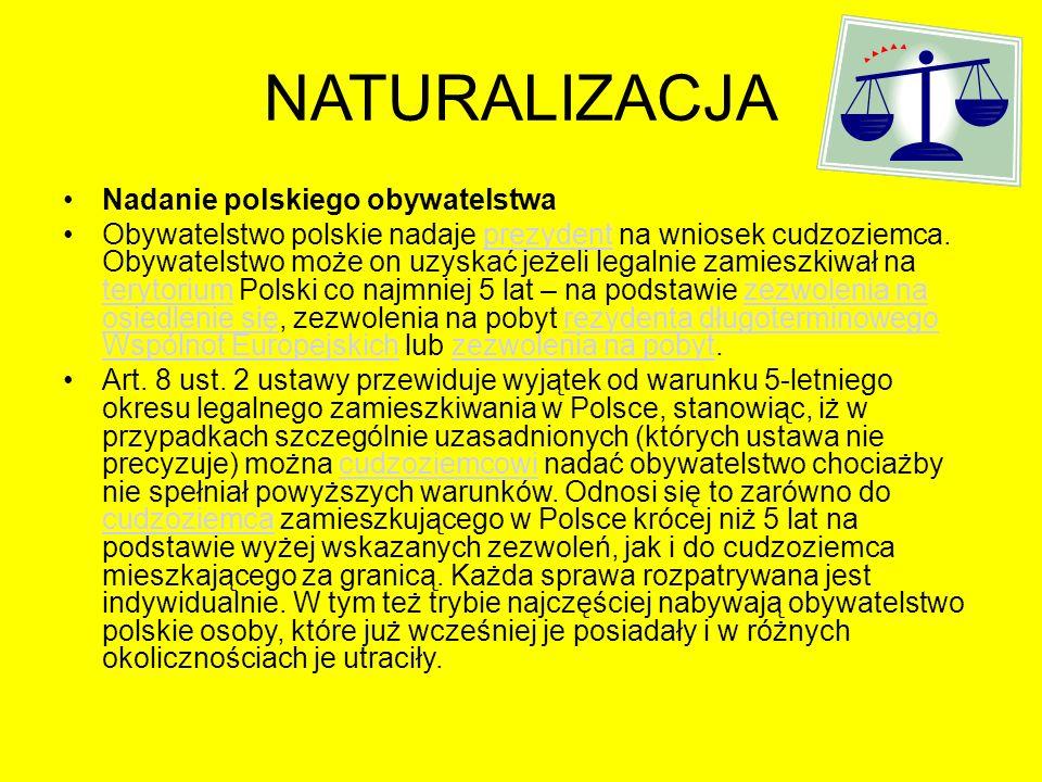 NATURALIZACJA Nadanie polskiego obywatelstwa