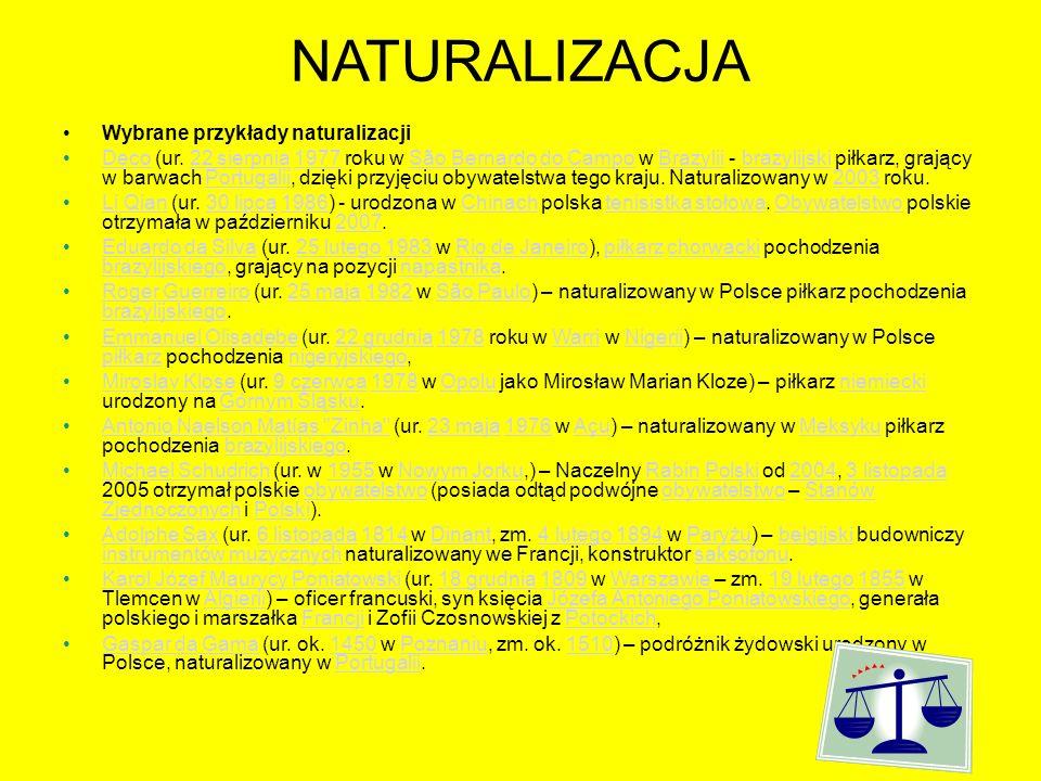 NATURALIZACJA Wybrane przykłady naturalizacji