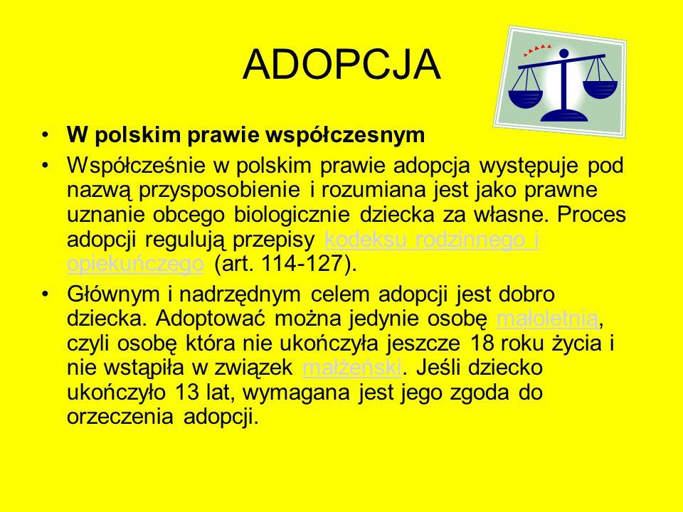 ADOPCJA W polskim prawie współczesnym