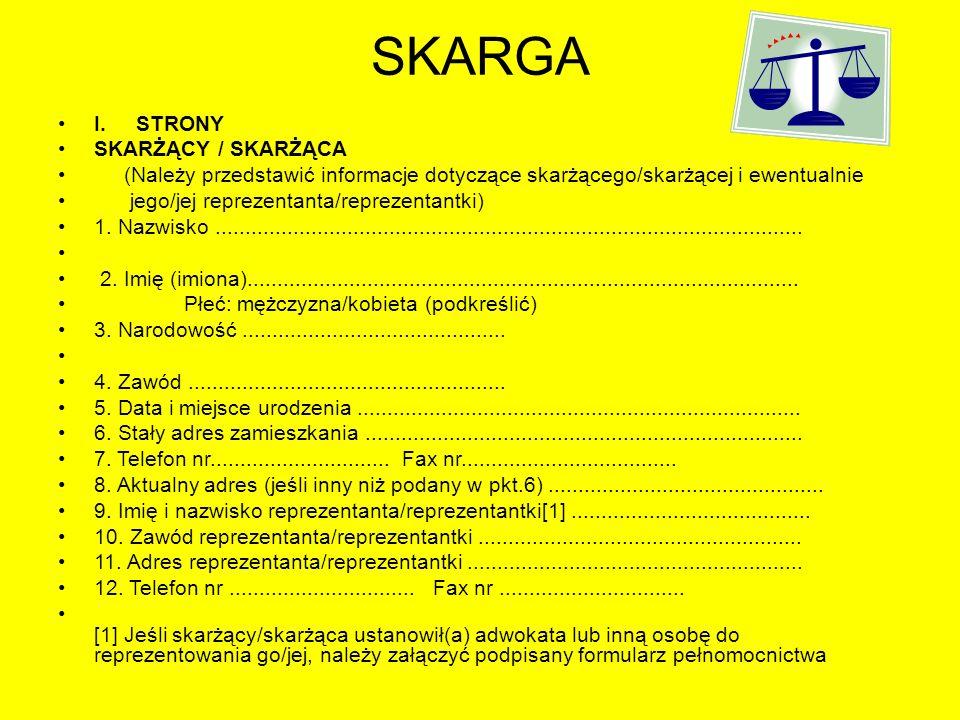 SKARGA I. STRONY SKARŻĄCY / SKARŻĄCA
