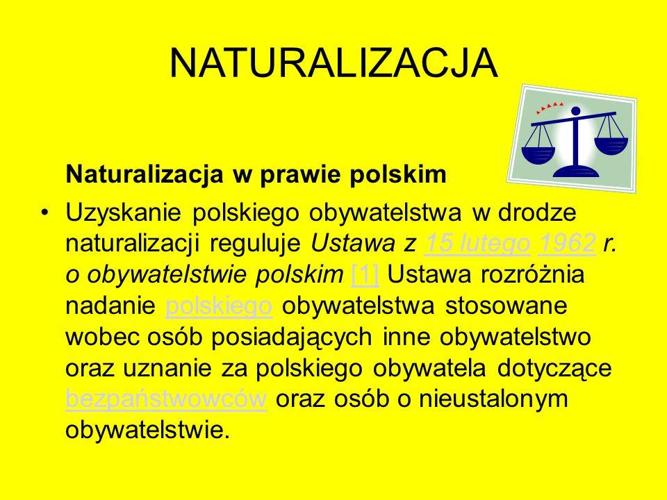 NATURALIZACJA Naturalizacja w prawie polskim