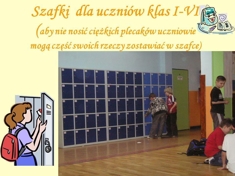 Szafki dla uczniów klas I-VI (aby nie nosić ciężkich plecaków uczniowie mogą część swoich rzeczy zostawiać w szafce)