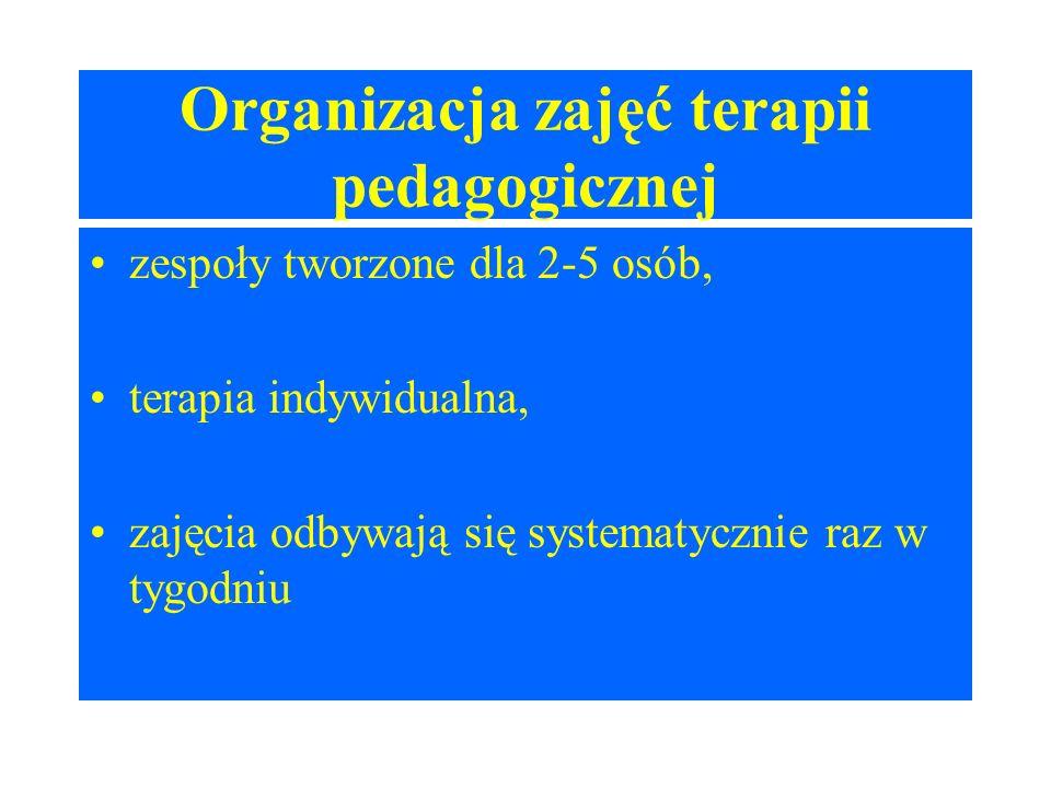 Organizacja zajęć terapii pedagogicznej