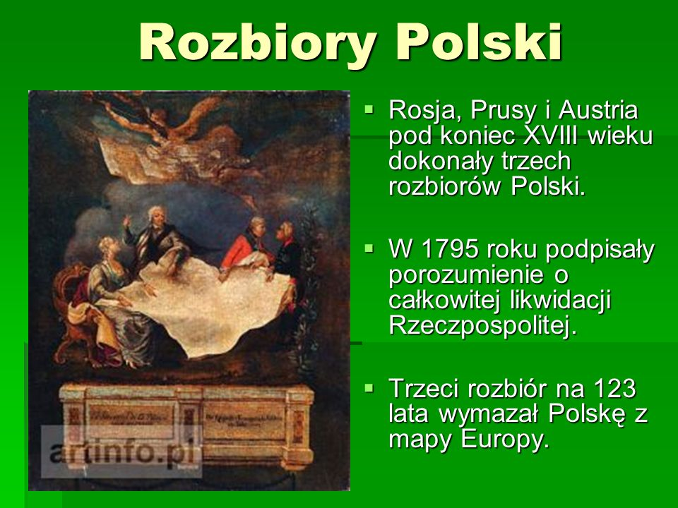 Rozbiory PolskiRosja, Prusy i Austria pod koniec XVIII wieku dokonały trzech rozbiorów Polski.