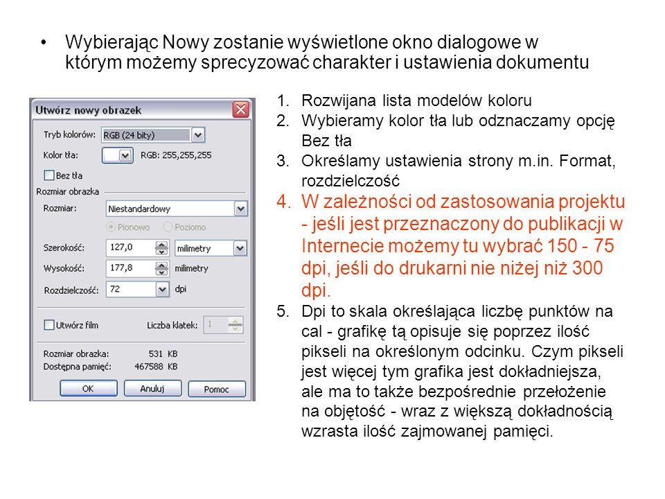 Wybierając Nowy zostanie wyświetlone okno dialogowe w którym możemy sprecyzować charakter i ustawienia dokumentu