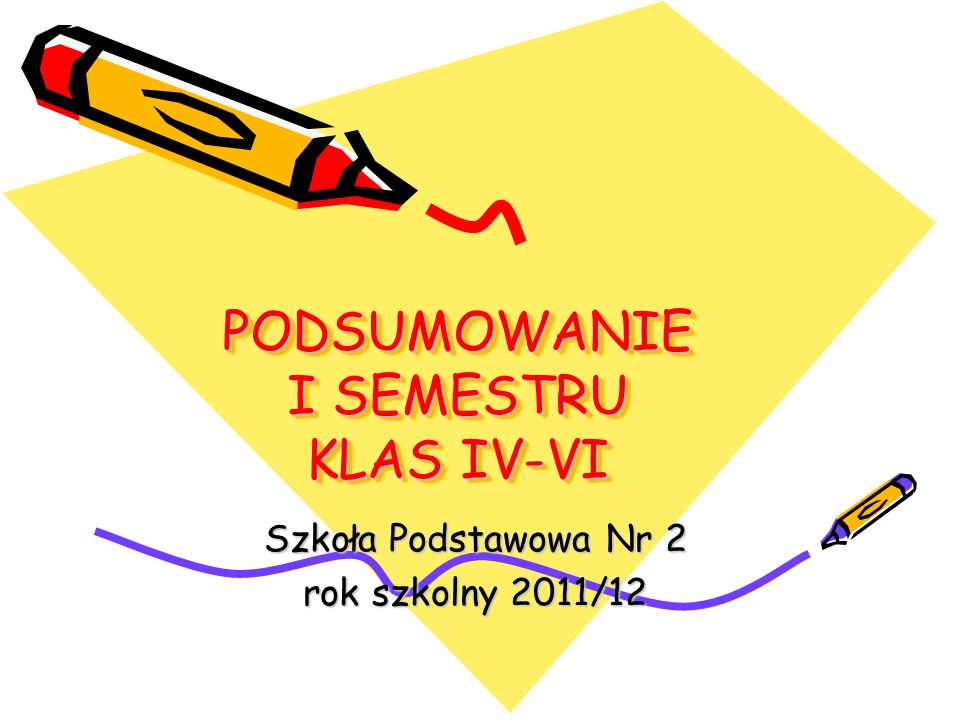 PODSUMOWANIE I SEMESTRU KLAS IV-VI