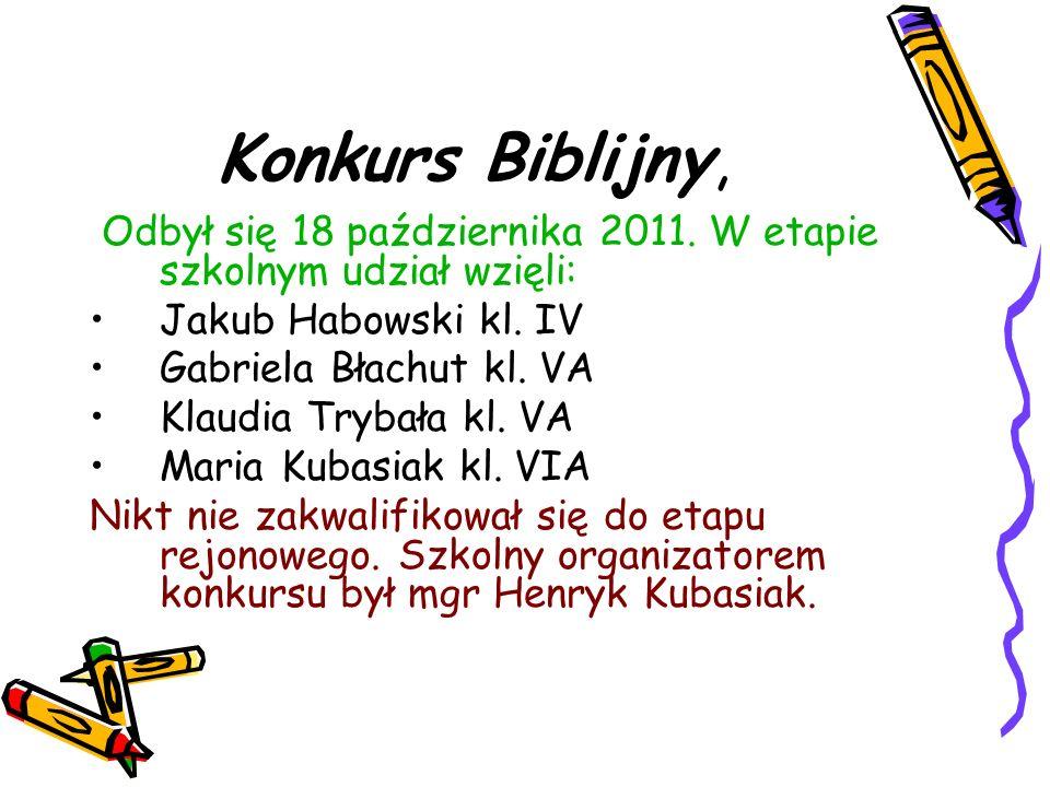 Konkurs Biblijny, Odbył się 18 października 2011. W etapie szkolnym udział wzięli: Jakub Habowski kl. IV.